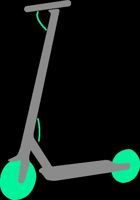 Pequeño logo de un patinete eléctrico. De color gris, y ruedas de color verde.