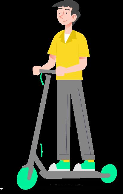 Un chico montado en un patinete eléctrico gris y verde. Con una camiseta amarilla y pantalones grises.