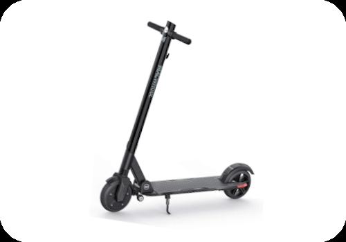 Imagen en miniatura de Macwheel MX3. Es un patinete similar a los demás. En color gris y detalles en rojo. El manillar sobresale por arriba. Dónde incluye la luz. Incluye dos ruedas en el chasis de abajo para llevarlo cómodamente.