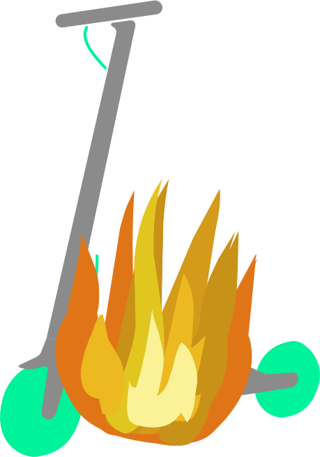 Imagen de un patinete eléctrico en llamas.