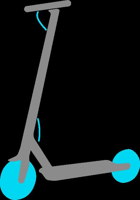 Imagen de un patinete eléctrico gris. Con ruedas y detalles en color azul.