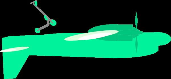 Imagen de un patinete eléctrico encima de un avión haciendo algo raro. El avión esta al revés.