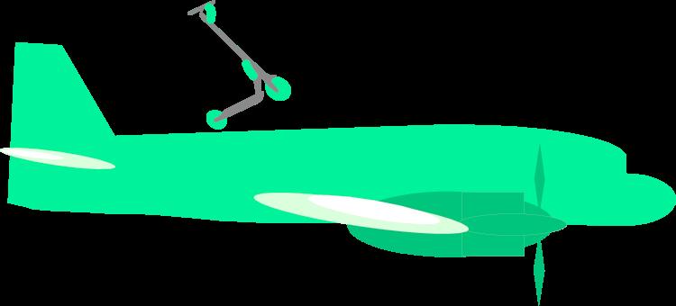 Imagen de un avión. Con un patinete eléctrico encima. Ambos son del color verde de Movimiento Eko.