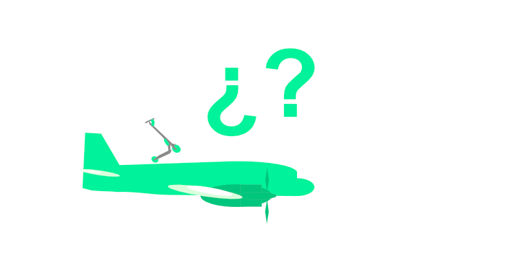 Imagen de un patinete encima de un avión. Con símbolos de interrogación.