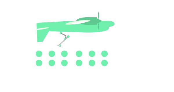 Imagen de un patinete eléctrico encima de un avión al revés. Con varios puntos simulando la respuesta larga.