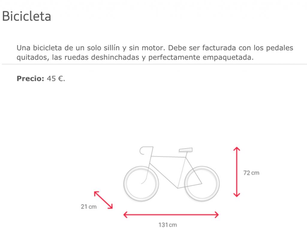 Imagen de las características que debe tener una bicicleta para ser transportada por Iberia.