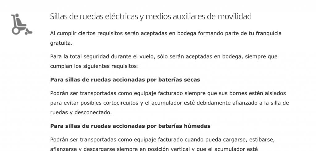 Imagen sobre que sillas de ruedas eléctricas y medios auxiliares de movilidad están permitidos en Iberia.