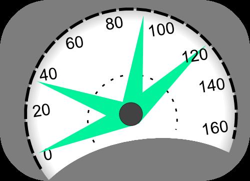 Velocímetro indicando varias velocidades.