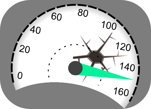 Velocímetro indicando la velocidad máxima y con una rotura.