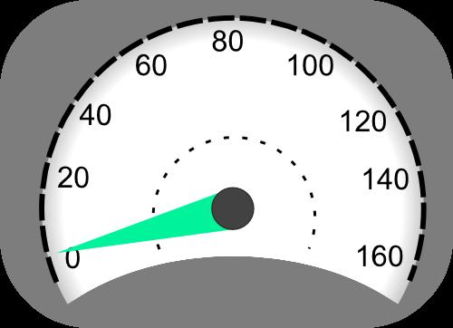 Velocímetro indicando una velocidad baja.