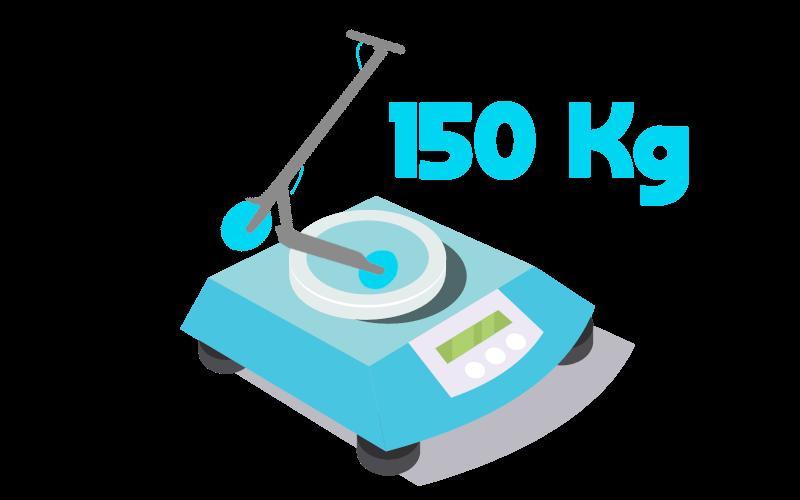 Imagen de un patinete eléctrico azul. Encima de una balanza. Con un pequeño texto que indica 150 kg.