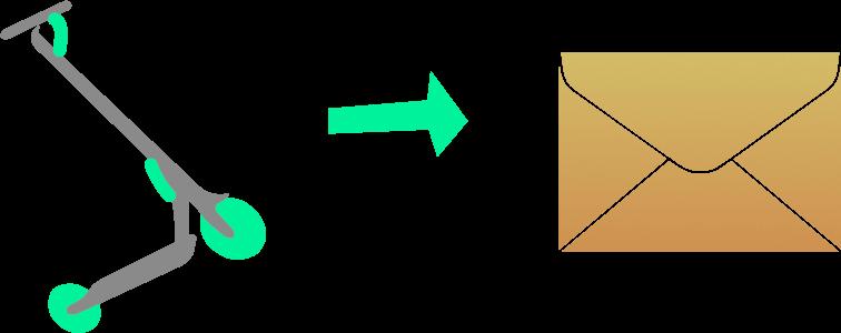 Imagen de un patinete eléctrico. Representado siendo enviado con un sobre.