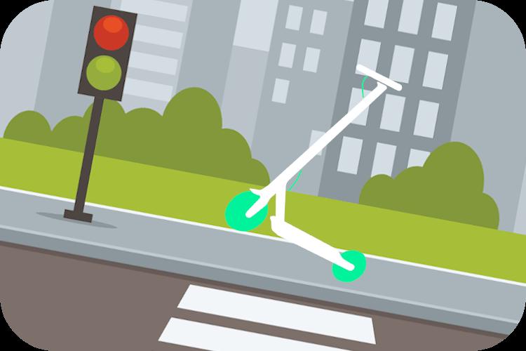 Imagen de una calle en ciudad. Con edificios de fondo. Un semáforo. Y un patinete eléctrico subiendo una pequeña cuesta.
