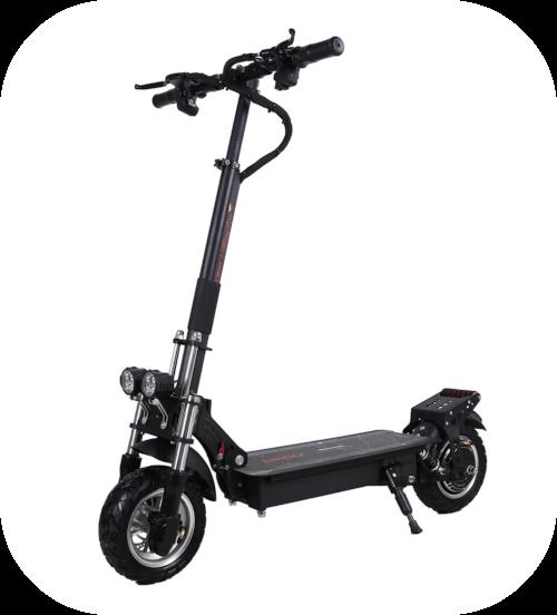 Patinete eléctrico sin asiento. Con 2000w. Tiene dos grandes luces led en la parte frontal y amortiguación similar a una moto.