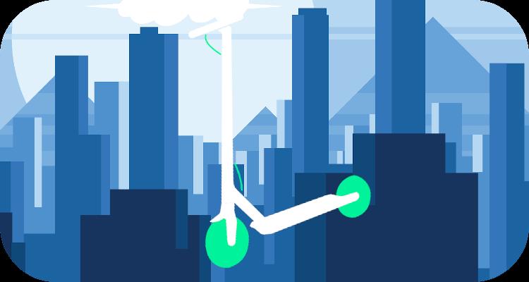 Paisaje de patinete eléctrico blanco con ruedas verdes. Con una ciudad de fondo.