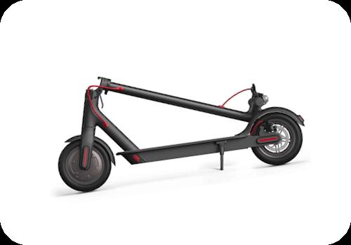 Imagen en miniatura de Xiaomi Mi Electric Scooter Pro. Plegado. Es de color negro con detalles en rojo.