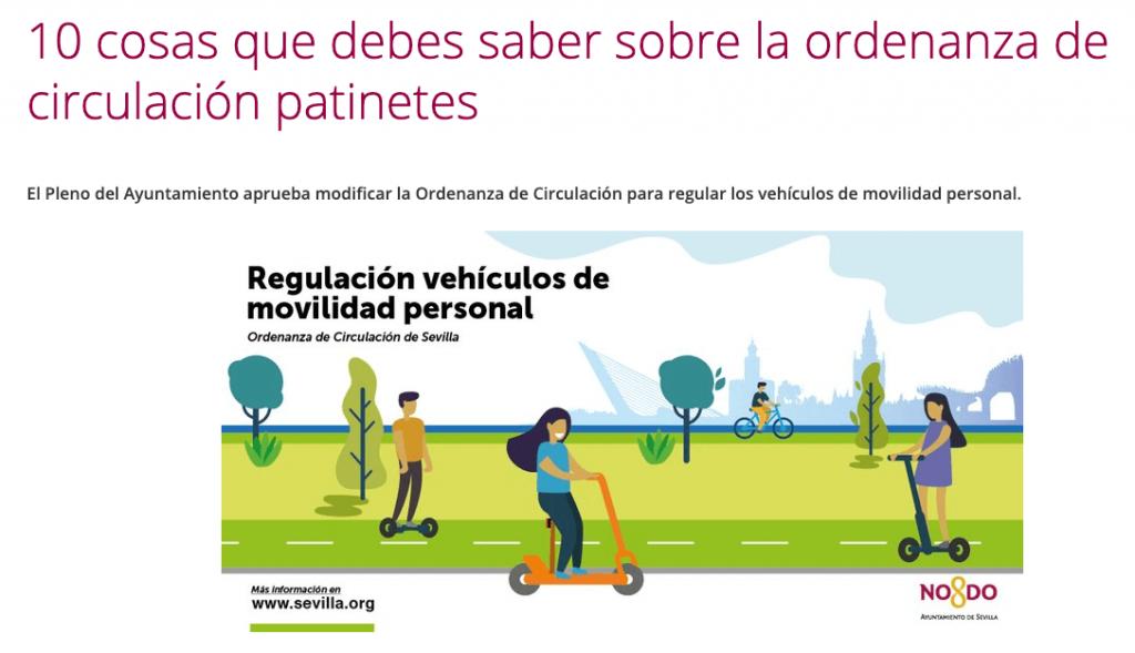 Imagen sobre el portal web sevillano que explica por encima la ordenanza de circulación de patinetes.