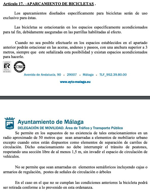 Captura de pantalla de la regulación oficial del ayuntamiento de Málaga procedente de un documento.