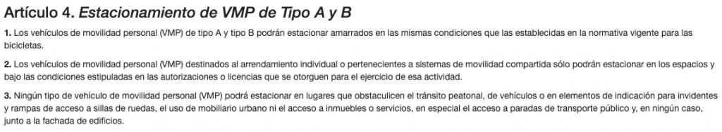 Captura de pantalla de la regulación sobre VMPs de la web oficial del ayuntamiento de Zaragoza.