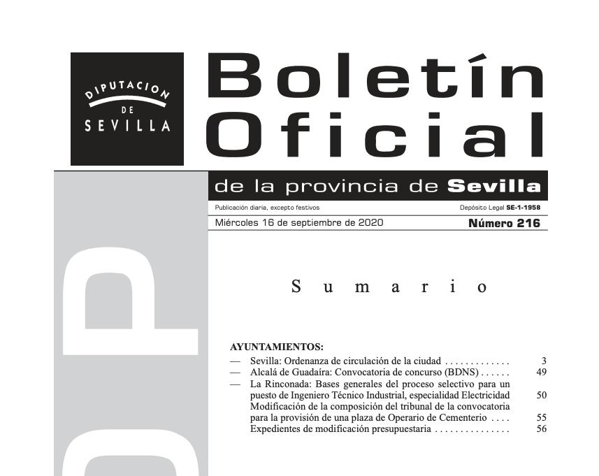 Imagen sobre el boletín oficial de Sevilla sobre movilidad.