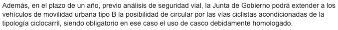 Captura sobre el texto de la ordenanza madrileña sobre VMU describiendo cuando es necesario el uso de equipamiento de seguridad.