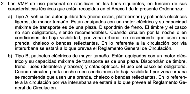 Captura de un apartado de la ordenanza de movilidad del ayuntamiento de Valencia. Con un texto explicando las normas de seguridad de los diferentes VMP.