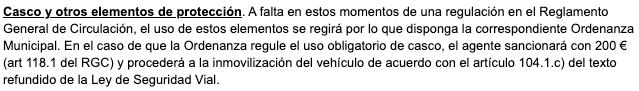 Imagen sobre un texto de la DGT sobre Casco y otros elementos de protección.