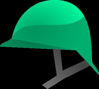 Imagen representativa de un casco de color verde.