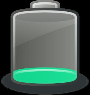Representación gráfica de una batería con poca carga
