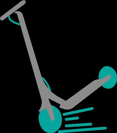 Un patinete eléctrico frenando muy fuerte y levantándose un poco por la parte de atrás