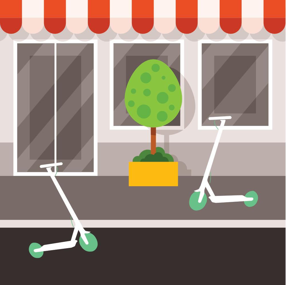 Imagen de portada. Dos patinetes eléctricos de color blanco aparcados. Con una tienda de fondo, y una planta de decoración.