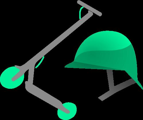 Imagen de portada con un patinete eléctrico verde y un casco verde.