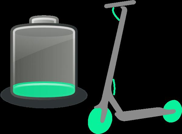 Representación de patinete eléctrico con una batería con poca carga