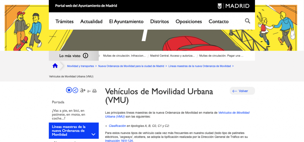 Imagen sobre la web del ayuntamiento madrileño en el apartado de VMU o vehículos de movilidad urbana.