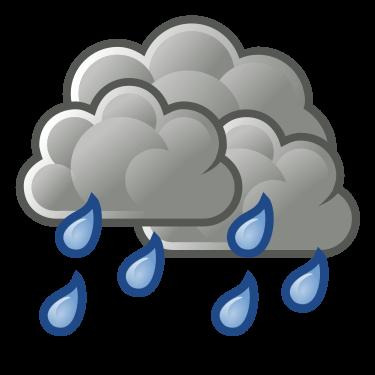 Nubes de lluvia con gotas que están cayendo al suelo