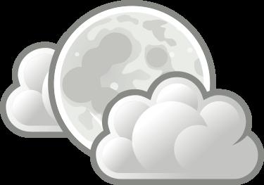 Cielo nublado donde se puede observar la luna llena
