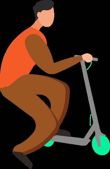 Imagen de un hombre haciendo fuerza con el pie para arrancar su patinete eléctrico