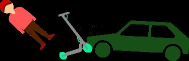 Imagen de un coche estrellándose contra un patinete eléctrico y tirando a una persona.