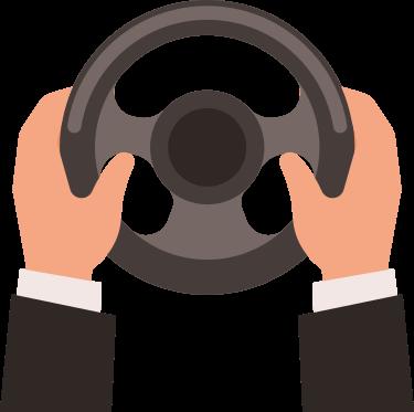 Imagen de una persona con las manos firmes y conduciendo un volante.