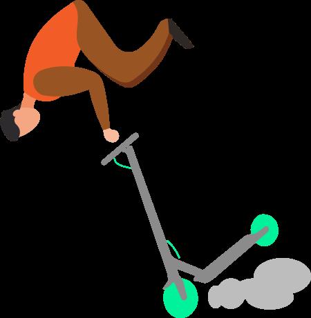 Persona cayéndose del patinete tras frenar de manera brusca