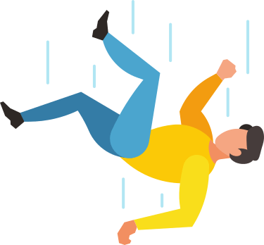 Imagen de una persona cayéndose hacia abajo tras un acicidente