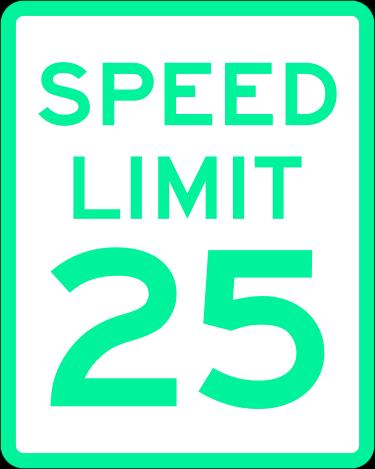 Imagen de una señal de límite de velocidad que marca los 25 km/h