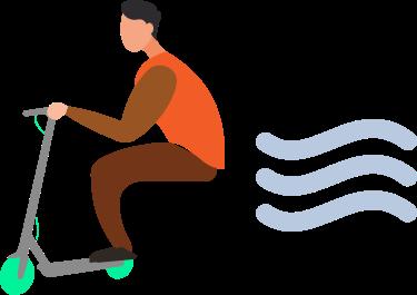 Imagen de una persona cogiendo mucha velocidad con su patinete eléctrico